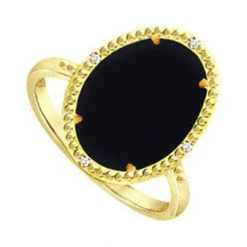 Pure Black Onyx Ring and Cubic Zirconia in Sterling Silver Overlay18K Yellow Gold 15.08 Carat TG