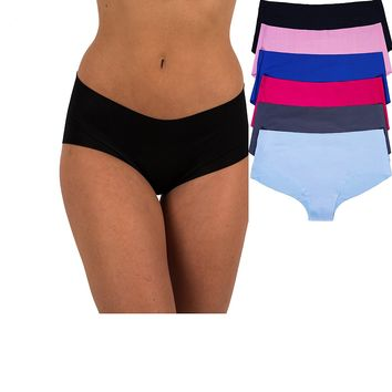 Sexy Women's 6 Pack Laser Cut Seamless Invisible Boyshort Panty