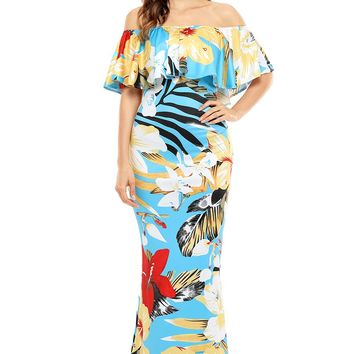 Chicloth Teal Yellow Floral Print Off Shoulder Maxi Boho Dress