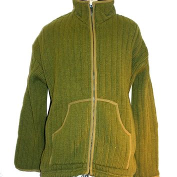 Ribbed Lamb's Wool Hand Knitted Fleece Lined Sherpa Jacket Sweater