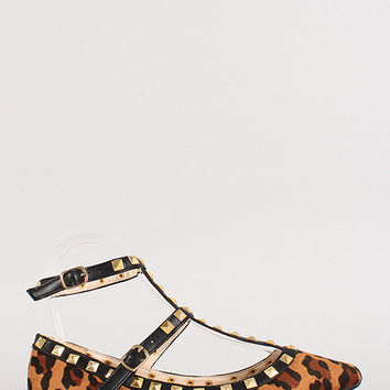 Leopard Faux Suede Pyramid Studded T-Strap Flat