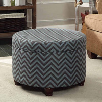 Gray/Glacier Blue Chevron Large Round Storage Ottoman
