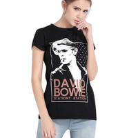 Black David Bowie Printed T-shirt