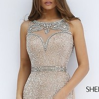 Long Beaded Dress 11289 with a Sheer Back by Sherri Hill