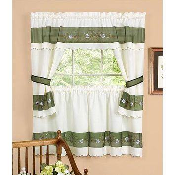 Ben&Jonah Collection Berkshire Embellished Cottage Window Curtain Set - 58x36 Tailored Tier Pair/58x36 Tailored Topper with attached swaggers and tiebacks. - Green