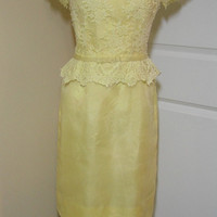 1960s Yellow Party or Bridesmaid Dress, Home Sewn with Satin & Lace Overlay, Size 8 - 10, ~~by Victorian Wardrobe
