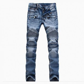 Men Jeans Pants Solid Pleated Slim Motorcycle Pants Full Length Trousers Summer Splicing Light Button Denim Straight