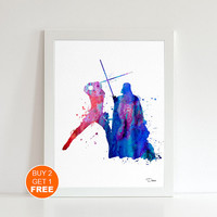 Darth Vader and Luke Skywalker Star Wars print, watercolor illustration, Sith lord and jedi,geek art print, Star Wars art  print, dark side