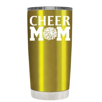 Cheer Mom Pom Pom on Translucent Gold 20 oz Tumbler Cup