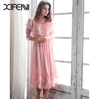 XIFENNI Brand Summer Women's Nightgowns Retro Lace Royal Princess Nightdress Ruffles Half Sleeve Sleepwear Pijama Female 1005