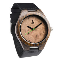 Ebony Watch // Walnut Burl Plain Green