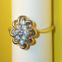 Exquisite Dinner Ring Nine Genuine Round Diamonds 1/2 CTTW 14-Karat Yellow - Vintage Fine Jewelry, Estate Heirloom