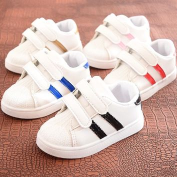 Striped Leather Sportsgirl Shoes Girls Slip On Sneakers