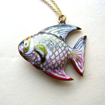 Colorful Fish Necklace - Japanese Fish Necklace - Cloisonne Fish Necklace - Enamel Fish Necklace