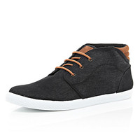 River Island MensBlack lace up contrast panel shoes