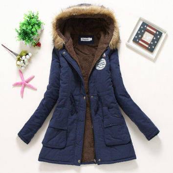 Navy Military Hooded Cotton Coat Winter Jacket Coats Women
