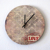 Shabby Chic Clock, Valentine Gift, Decor and Housewares, Wall Clock, Home and Living, Cottage Chic,  Eco Friendly Decor, Unique Gift