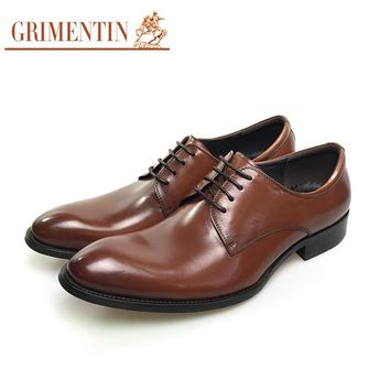 GRIMENTIN Brand vintage classic mens formal shoes genuine leather brown black Italian men business shoes