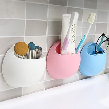 Hot Sales Toothbrush Holder Suction Cup Organizer Bathroom Kitchen Storage Tool storage box 11 * 10.5 * 5cm 4 Colors