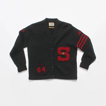 Vintage 60s Varsity SWEATER / 1960s Black Wool Letterman Cardigan Patches Women's L