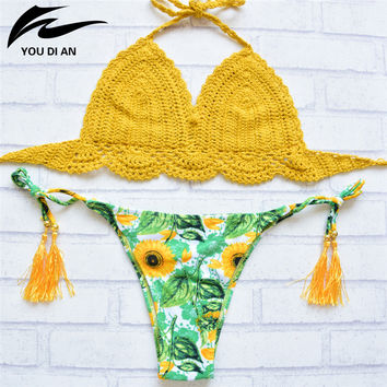 Crochet Bikini Yellow Top 2016 Summer Women Sexy Halter Bikini Sets Low Waist Print Floral Bottom Push Up Bathing Suit