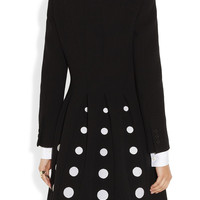 Moschino|Embroidered pleated wool-blend coat|NET-A-PORTER.COM