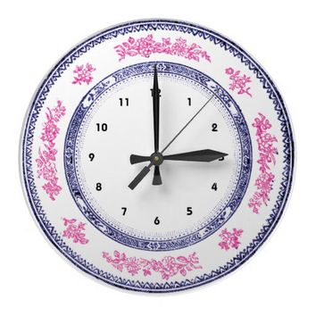 pretty vintage blue pink china delft plate clock from Zazzle.com