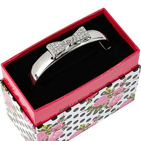 BetseyJohnson.com - CRYSTAL BOW HINGED BANGLE BRACELET CRYSTAL