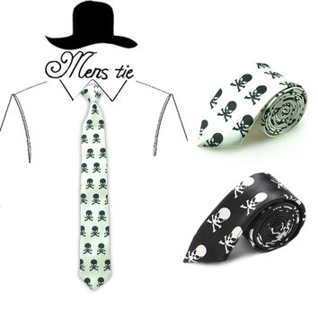 """Free shipping-Men`s Fashion Necktie 5cm wide """"White Big Cross Bone Skull"""" Pattern ties classic polyester Woven Skinny Party ties"""