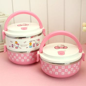 Cartoon Stainless Steel Japanese Bento Box Hello Kitty Thermal Food Containers Lunch Boxes For Kids Picnic 2D