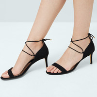 Lace-up heel sandals