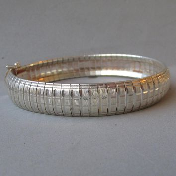 "Vintage 1/2"" Wide Flexible Italian Textured Sterling Silver Cuff Bracelet, 7 1/2"""