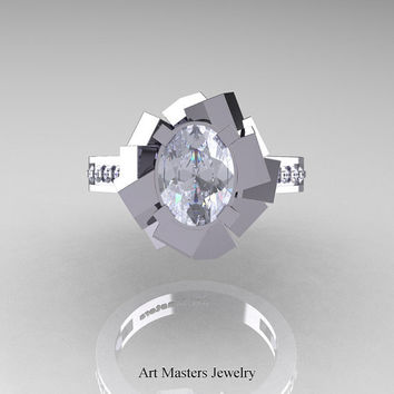 New Modern 14K White Gold 1.0 Ct Oval White Sapphire Accent White Diamond Engagement Ring AR136-14KWGDWS