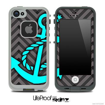 Sketch Black/Gray Chevron and Turquoise Anchor Skin for the iPhone 5 or 4/4s LifeProof Case