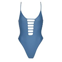 Cage Strappy High Cut One Piece Swimsuit - Hampton Blue
