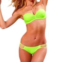 Neon Green Strappy Push Up Bandeau Low Rise Bikini Swimwear Bathing Suit S/M/L