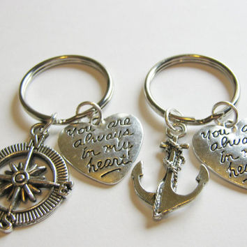 2 Anchor And Compass You Are Always In My Heart Keychains Best Friends BFF Sisters Couples
