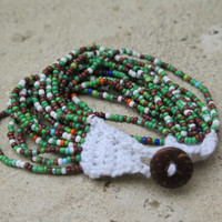 Green and multicolor,Crochet Beaded Bracelet, Woman Cuff Bracelet, Fashion Summer Jewelery Bracelet, Knit Cuff Bracelett