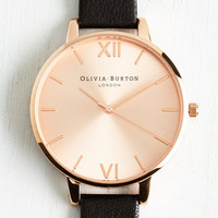 Undisputed Class Watch in Black & Rose Gold - Big | Mod Retro Vintage Watches | ModCloth.com