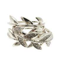 Silver Crusted Wreath Ring Set (3 Pieces)