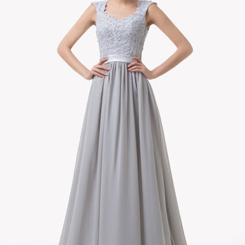 Gray Beads Embellished Cap Shoulder Empire Waist Evening Dress