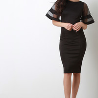 Mesh Contrast Short Bell Sleeve Bodycon Midi Dress