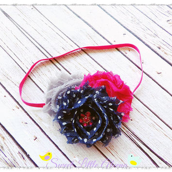 Pink Navy Gray Headband, Shabby Flower Hair Clip, Baby Girl Headbands, Infant Hairband, Autumn Hair Bow, Toddler Head Band, Cute Hairbows
