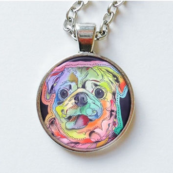 Pug Pendant - Art Pendant - Pug Necklace - Pug Jewellery - Pug Jewelry - Wearable Art - Artist Pendant - Gifts For Pug Lovers - Pug Art