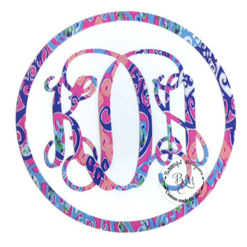 Lilly Pulitzer Monogram Vinyl Decal with Outer Circle
