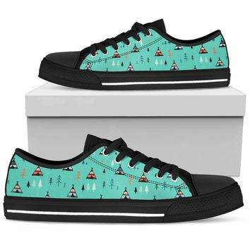 Wild And Free Boho Tribal Tent Pattern Camping Low Top Shoes