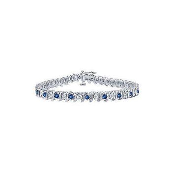 Sapphire and Diamond Tennis Bracelet : Platinum - 1.00 CT TGW
