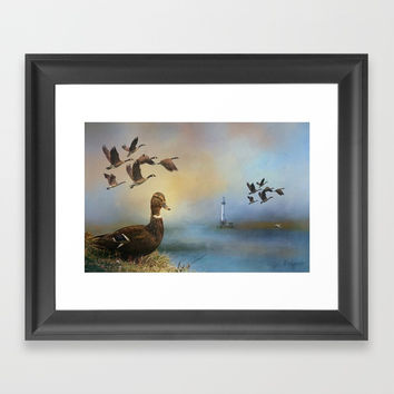 Lighthouse In Time Framed Art Print by Theresa Campbell D'August Art