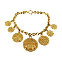 Chanel Vintage Rare Gold Toned Coat of Arms Runway Necklace