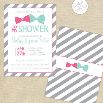 Co-Ed Baby Shower Bows and Stripes Invitation : Aqua/Pink/Gray